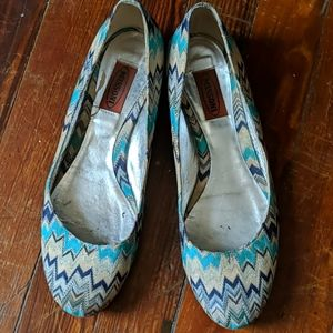 Missoni Aqua and White Ballet Flats